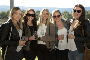 A tour group at Mountain Ridge Winery on a Berry Afternoon Wine Tour