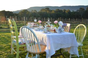 Table Setting of a High Tea in the Vines Tour at Cambewarra Estate
