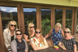 Group of ladies enjoying a lunch at Cambewarra Estate on South Coast Wine Tour